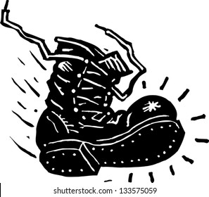 Black and white vector illustration of a military boot