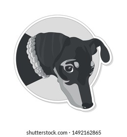 Black and White Vector Illustration of Miniature Pinscher looking out of the Circle