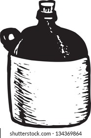 Black and white vector illustration of Moonshine Liquor Jug