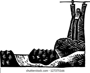 Black and white vector illustration of Moses parting the Red Sea