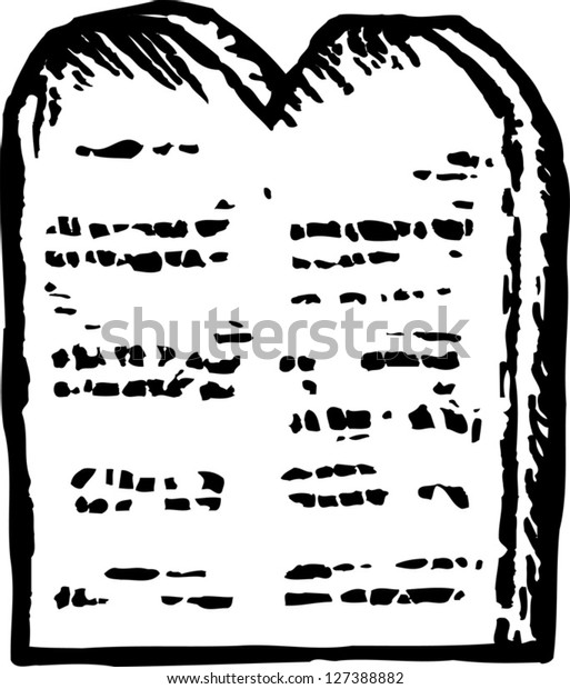 Black and white vector illustration of Moses' tablet of ten commandments