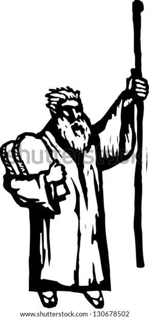 Black and white vector illustration of Moses with the Ten Commandments tablets