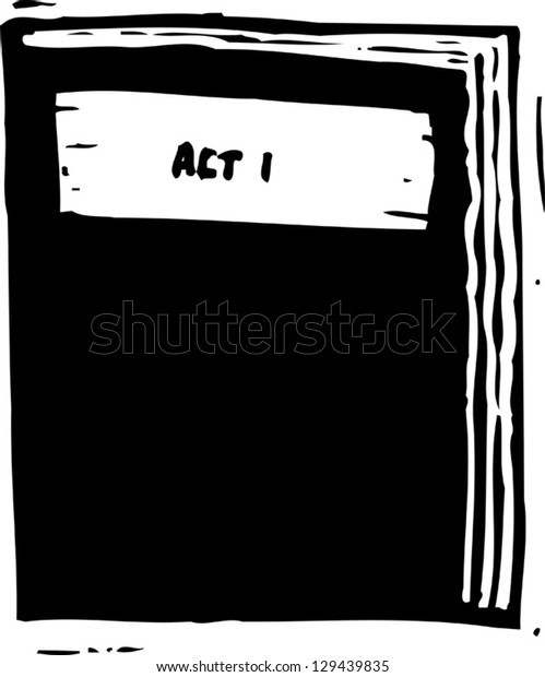 Black and white vector illustration of a movie script