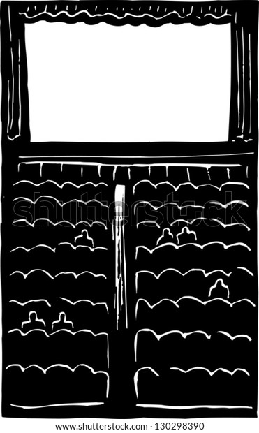 Black and white vector illustration of movie theater