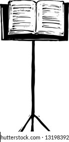 Black and white vector illustration of a music stand