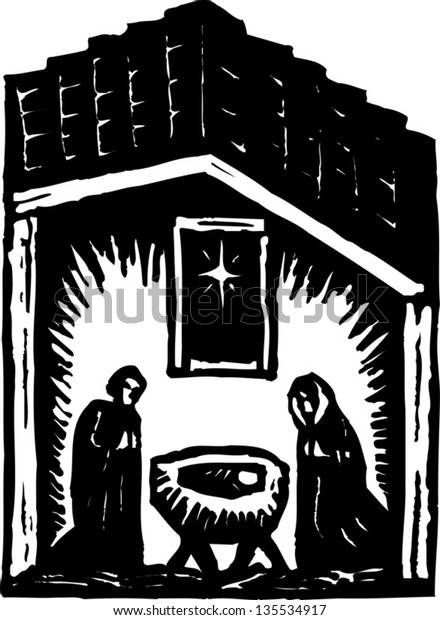 Black and white vector illustration of Nativity scene