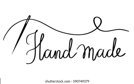 Black and white vector illustration of a needle and thread with simple text