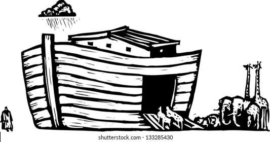 Black and white vector illustration of Noah's ark