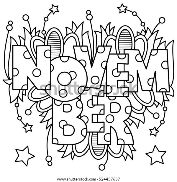Black White Vector Illustration November Coloring Stock Vector Royalty Free 524457637