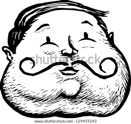 Black White Vector Illustration Obese Man Stock Vector Royalty Free