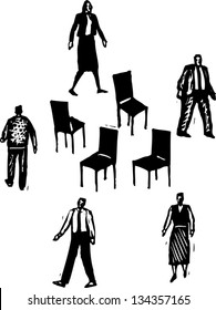 Black and white vector illustration of Office Workers Playing Musical Chairs
