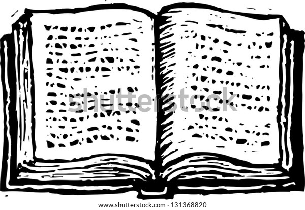 Black and white vector illustration of an open book