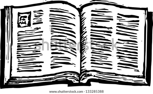 Black and white vector illustration of an open Bible