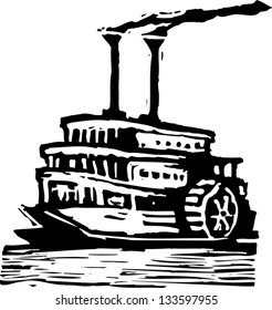 Black and white vector illustration of paddle wheeler boat