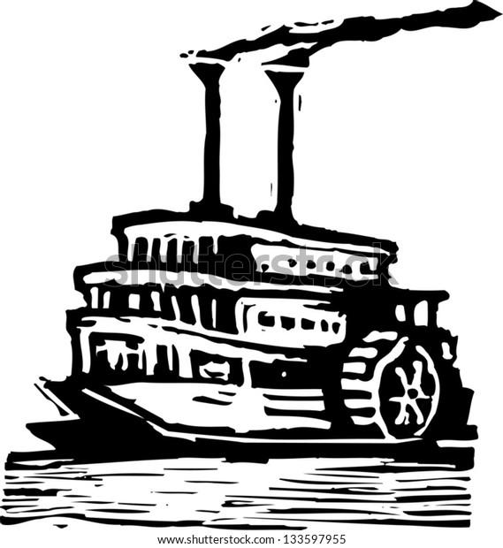 Black and white vector illustration of paddle wheeler boat