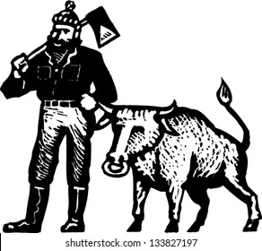Black and white vector illustration of Paul Bunyan and his blue ox