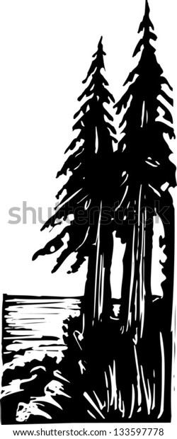 Black and white vector illustration of pine trees