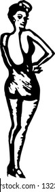 Black and white vector illustration of pin-up woman in swimming suit