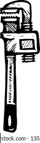 Black and white vector illustration of Pipe Wrench
