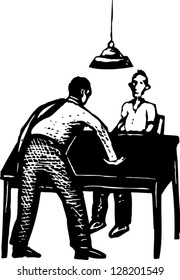 Black and white vector illustration of police interrogation