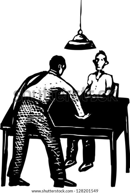 Black and white vector illustration of police interrogation