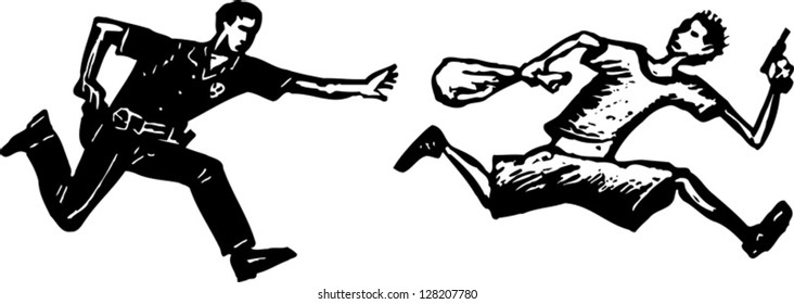 Black and white vector illustration of policeman chasing street criminal with handgun