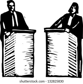 Black and white vector illustration of political debate