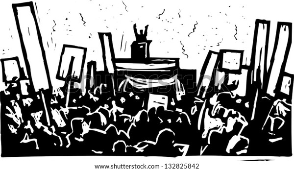Black and white vector illustration of political convention