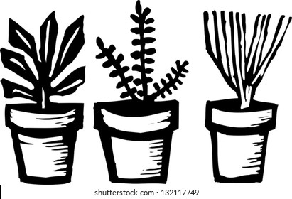 Black and white vector illustration of potted herbs