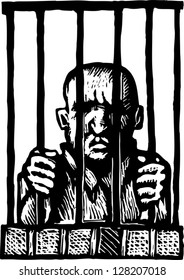 Black and white vector illustration of prisoner behind bars