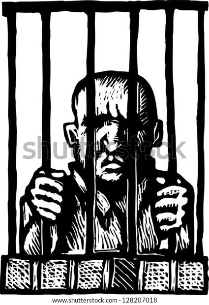 Black and white vector illustration of prisoner behind bars