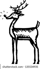 Black and white vector illustration of a Reindeer