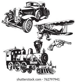 Black and white vector illustration  of retro-technology,  era of steam engine