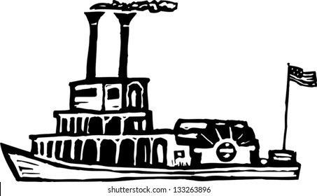 Black and white vector illustration of riverboat or paddle boat