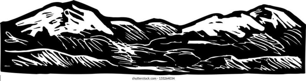 Black and white vector illustration of rocky mountains