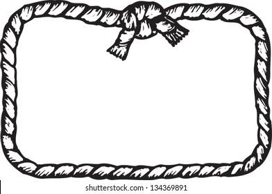 Black and white vector illustration of rope frame