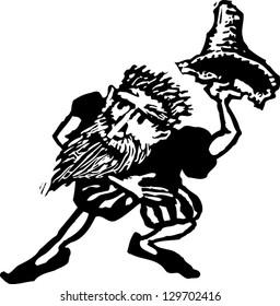 Black and white vector illustration of Rumpelstiltskin