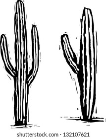 Black and white vector illustration of saguaro cactus