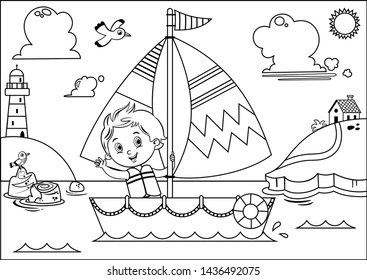 Black and white vector illustration of a boy's sailing adventure.