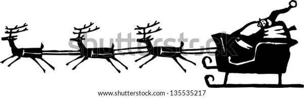 Black and white vector illustration of Santa Claus in Sleigh with Reindeer