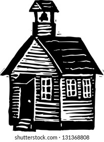 Black and white vector illustration of schoolhouse