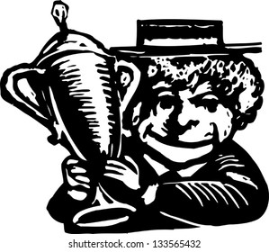 Black and white vector illustration of senior woman with trophy award