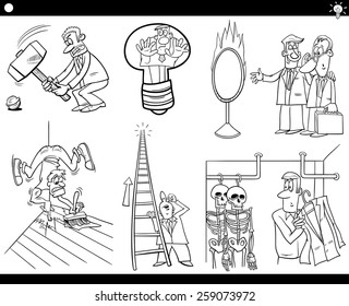 Black and White Vector Illustration Set of Humorous Cartoon Concepts or Ideas and Metaphors with Funny Characters