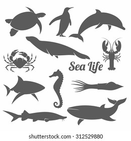 black and white vector illustration set of silhouettes of sea animals in the minimal style / Minimal sea animals vector illustration