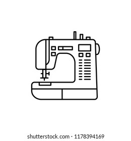 Black & white vector illustration of sewing machine. Line icon of modern computerized tool for patchwork & sewing. Isolated object on white background.