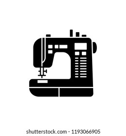 Black & white vector illustration of sewing machine. Flat icon of modern computerized tool for patchwork & sewing. Isolated object on white background.
