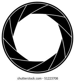 Black and white vector illustration of shutter frame.
