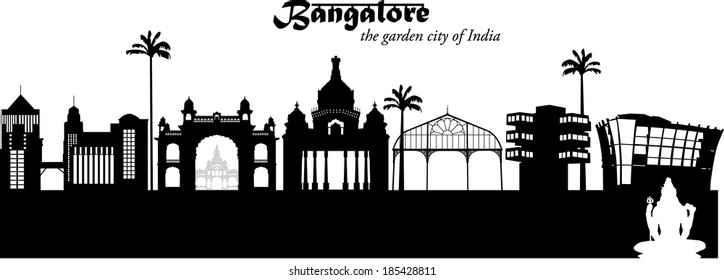 Black and white vector illustration silhouette of the cityscape of Bangalore, India, with white silhouette of the Shiva statue in the foreground