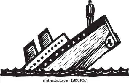 Black and white vector illustration of a sinking ship