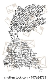 The black and white vector illustration of a sitting fantasy girl with the non existent letters and notes in the hair and in the dress